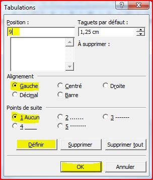 ajouter tabulation word